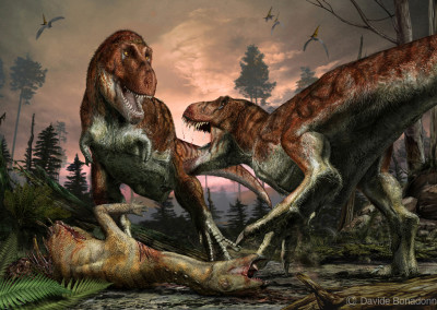 TYRANNOSAURUS AND THESCELOSAURUS - Tempera and digital - 2010 - Scientific supervisor: Simone Maganuco and Makoto Manabe