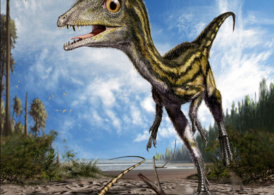 SCIPIONYX AND EICHSTAETTISAURUS - Focus Junior Magazine cover (Italy) - January 2010 - Tempera and digital - 2010 - Scientific supervisor: Simone Maganuco