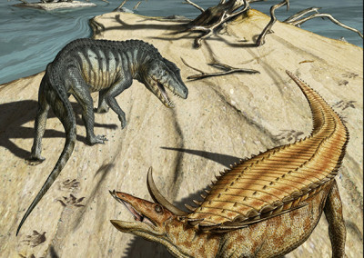 DESMATOSUCHUS AND POSTOSUCHUS - Panel for Zone (Brescia - Italy) track site - Tempera and digital - 2010 - Scientific supervisor: Simone Maganuco
