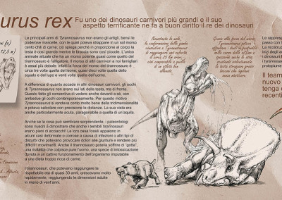"TYRANNOSAURUS PANEL - ""Dinosaurs in the Flesh"" traveling exhibition - Pencil, tempera and digital - 2012 - Scientific supervisor: Simone Maganuco Design: Andrea Pirondini"