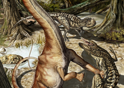 DIPLODOCUS AND ALLOSAURUS - Tempera and Digital - 2011 - Scientific supervisor: Simone Maganuco