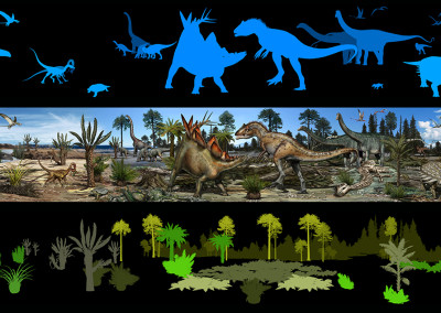 LIFE IN THE MESOZOIC - Aathal Sauriermuseum mural - Digital - 2014 - Scientific supervisor: Emanuel Tschopp