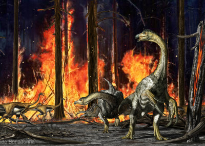 "THERIZINOSAURUS AND GALLIMIMUS - ""Dinosaurs in the Flesh"" traveling exhibition - Tempera and Digital - 2011 - Scientific supervisor: Simone Maganuco"