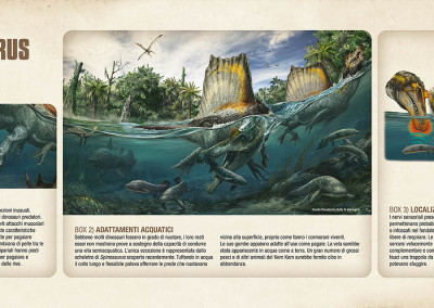 "FISHING SPINOSAURUS - National Geographic exhibition ""Spinosaurus - Lost Giants of Cretaceous"" - Digital - 2014 - Scientific supervisor: Nizar Ibrahim and Simone Maganuco Design: Andrea Pirondini"